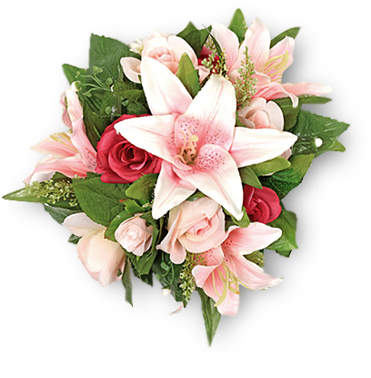 Bouquet of Pink Lilies and Roses